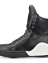 Men's Shoes Cowhide Casual Boots Casual Sneaker Flat Heel Zipper / Lace-up Black / Black and White