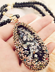 Oval Drop Shape Pendant Necklace