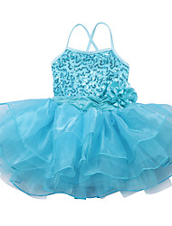 Fashion Girls Kids Dancewear Leotard Ballet Tutu Skate Performance Costume Sequined Top Flower Dance Dress with Straps