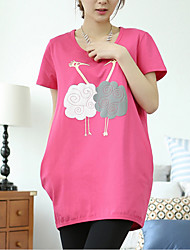 Maternity Round Neck Flower Blouse,Polyester Short Sleeve