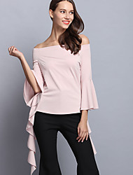 Women's Casual/Daily Street chic Slim Backless Spring T-shirt,Solid Boat Neck Long Sleeve