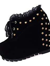 Women's Heels Winter Heels Fleece Casual Wedge Heel Beading Black / Brown Others