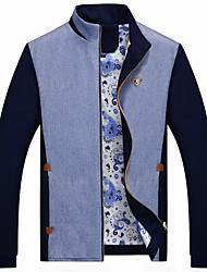 Men's Long Sleeve Casual / Work / Formal / Sport / Plus Sizes Jacket,Cotton / Polyester Patchwork / Letter Blue / Yellow
