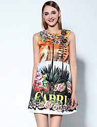 Boutique S Women's Going out Sophisticated A Line Dress,Embroidered Round Neck Mini Sleeveless Orange Polyester