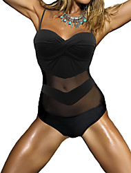 Womens Bandage Push Up Patchwork One Piece Bathing Suit Swimwear