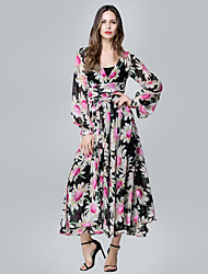 Women's Holiday / Plus Size Boho Swing Dress,Floral Deep V Midi Long Sleeve Black Polyester Summer