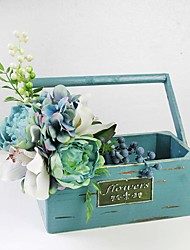 American Country Style Wood Flower Box+Silk Artificial Flowers Set Home Decoration Ornaments Set of 1