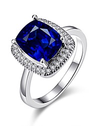 2016 New 18K Rhodium Plated Noble Luxury Wedding Blue Zircon Women Party Ring