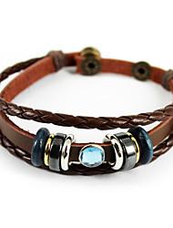 Women/Men Brown Fashionable Daily Leather Bracelets