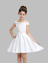 A-line Knee-length Flower Girl Dress - Cotton / Satin Sleeveless Off-the-shoulder with Bow(s)