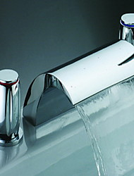 Chrome Finish Waterfall Bathroom Sink Faucet (Widespread)