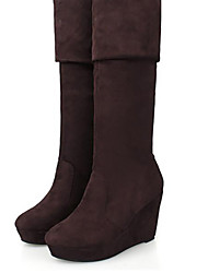 Women's Boots Spring Fall Winter PU Outdoor Wedge Heel Others Black Brown
