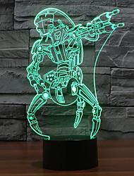 legal vilão robô ilusão luz noite 3d conduziu a lâmpada que mudam de cor luz da noite