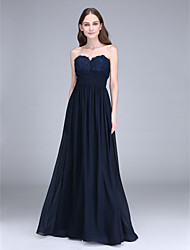 Lanting Bride® Floor-length Chiffon Bridesmaid Dress Sheath / Column Sweetheart with Lace / Side Draping