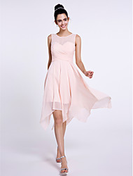 2017 Lanting Bride® Knee-length Chiffon Bridesmaid Dress - A-line Scoop with Criss Cross