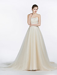 A-line Wedding Dress Court Train Strapless Satin / Tulle with Lace