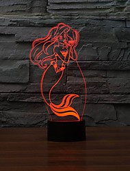 Lovely  Princess 3D Effect Lights LED Table Lamp for Children Girl Gift Color-Changing Night Light