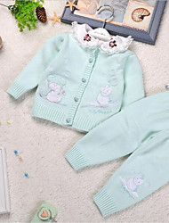 Girl's Casual/Daily Solid Sweater & Cardigan,Cotton Spring / Fall Blue / Pink / Yellow