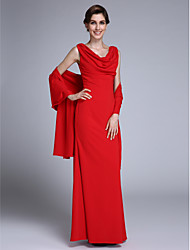 LAN TING BRIDE Trumpet / Mermaid Mother of the Bride Dress - Wrap Included Floor-length Sleeveless Chiffon with Pleats