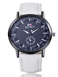 SOXY® Men's  Leather Band White/Black Case Analog Quartz Dress Watch(NO Water Ressistant)