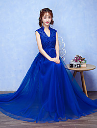 Formal Evening Dress A-line V-neck Floor-length Tulle with Beading / Flower(s)