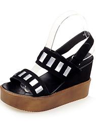 женская обувь флис клин пятки клинья / платформа / открытый носок сандалии партия&вечер / платье / вскользь черный