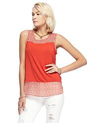 les femmes heartsoul de sortir t-shirt d'été simple, solide sans manches col rond orange, rayonne / spandex mince