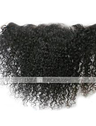 "1 Pc/Lot 8""-24"" Swiss Lace Peruvian Hair Kinky Curly Natural Black 13""x4"" Size Lace Frontal Closure"