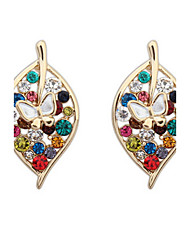 Fashion Leaf Diamond Earrings - A Leaf World