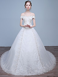 Ball Gown Wedding Dress Chapel Train Off-the-shoulder Lace / Satin / Tulle with Sequin / Beading / Lace