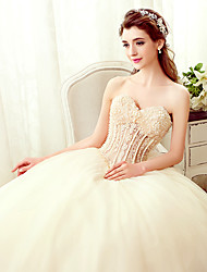A-line Strapless Floor Length Tulle Wedding Dress with Beading Pearl Appliques
