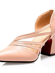 Women's Shoes Leatherette Spring / Summer / Fall Heels Heels Wedding /  Casual Chunky Heel RuchedGreen / White