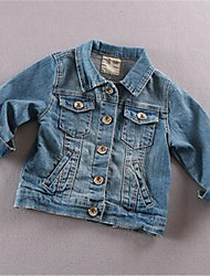 Girl's Casual/Daily Solid Jacket & Coat,Cotton Summer Blue