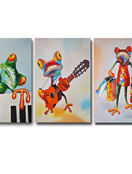 Oil Painting Modern Abstract Animal Frog Set of 3 Hand Painted Natural Canvas With Stretched Frame