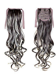 "22""(55cm) 100g Long Curly Wave Sl Ribbon Ponytails #6 Clip in Hair Extensions Ponytail Synthetic Hairpiece Accessories"
