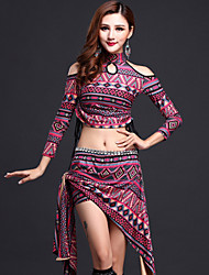 Belly Dance Outfits Women's Performance Spandex / Milk Fiber Pattern/Print 2 Pieces Purple / Yellow Long Sleeve
