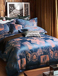 Betterhome  Luxury Jacquard Silk Cotton Blend 4pcs Duvet Cover Bed Sheet Pillowcase Bed Linen