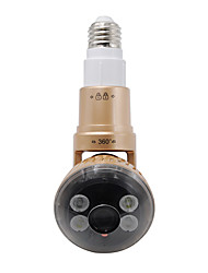 Wireless Bulb IP Camera with Rotable Body with Remote Control White LED  Light (Gloden Color)