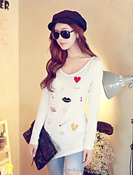 Rosa Doll® Damen Rundhalsausschnitt Lange Ärmel T-Shirt Weiß-X14CTS096