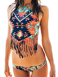 Women's Tribe Fringed Halter Crop Top with Bottom