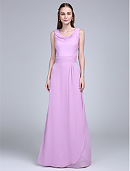 Floor-length Chiffon Bridesmaid Dress Sheath / Column Cowl with Sash / Ribbon / Ruching