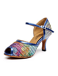 Women's Dance Shoes Leatherette Leatherette Latin / Salsa Sandals Flared Heel Professional / Indoor Blue / Purple / Red