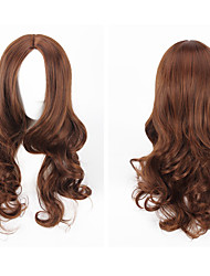 Women's Fashionable Brown Color Long Length Body Wave Top Quality Synthetic Wigs Daily Wearing Party Wigs
