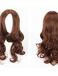 moda cor marrom longo comprimento de onda do corpo de qualidade superior perucas sintéticas das mulheres diária usando perucas partido