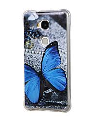 motif papillon bleu granuleuse interne antichoc cas tpu d'air pour l'honneur de huawei 5x de jeu / 5x d'honneur