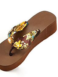 Women's Slippers & Flip-Flops Summer Flip Flops Silk Casual Wedge Heel Others Black / Blue / Brown / White