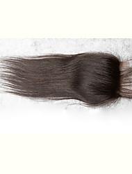 8'-20' Черный Изготовлено вручную Прямые Человеческие волосы закрытие Черный Швейцарское кружево black грамм Средние Размер крышки