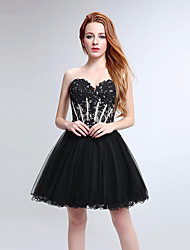 Cocktail Party Dress Ball Gown Sweetheart Short / Mini Tulle with Lace / Sequins
