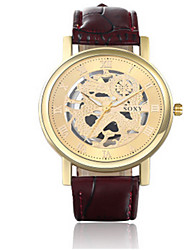 SOXY® Men's Brown Leather Band White/Gold Case Analog Quartz Dress Watch(NO Water Ressistant)