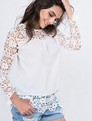 Mulheres Blusa Casual Simples Verão,Sólido / Patchwork Branco Poliéster / Náilon Decote Redondo Manga Longa Fina